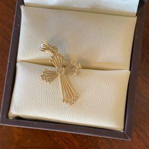 🎄14K gold filigree cross pendant